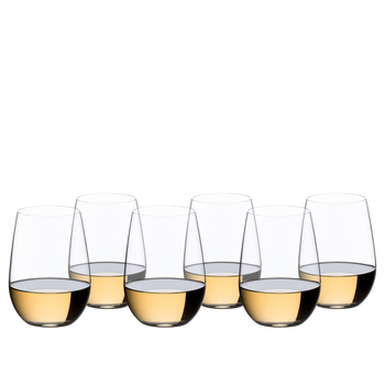 6 RIEDEL O Wine Tumbler Riesling/Sauvignon Blanc filled with white wine stand in 2 rows staggered side by side