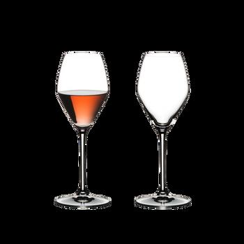 RIEDEL Extreme Rosé Wine / Rosé Champagne Glass rempli avec une boisson sur fond blanc