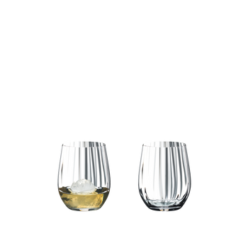 RIEDEL Tumbler Collection Optical O Whisky filled with a drink on a white background