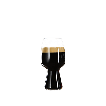 SPIEGELAU Craft Beer Glasses Stout (Set of 4) filled with a drink on a white background
