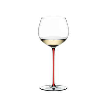 An unfilled RIEDEL Fatto A Mano Oaked Chardonnay with red stem on a white background with product dimensions.