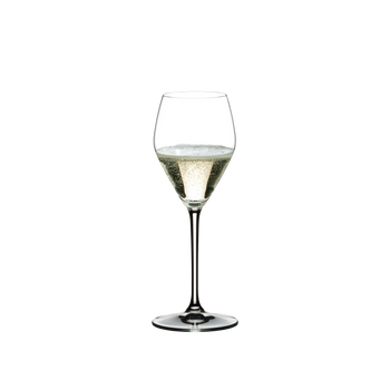 RIEDEL Extreme Restaurant Prosecco Superiore filled with a drink on a white background