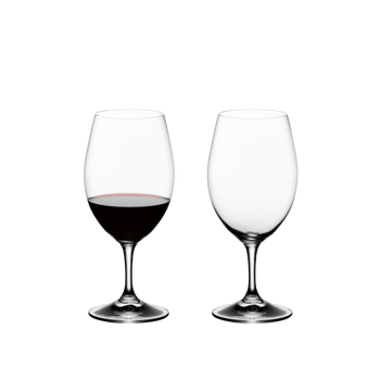 RIEDEL Ouverture Magnum filled with a drink on a white background