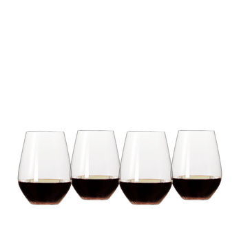 SPIEGELAU Authentis Casual Red Wine filled with a drink on a white background