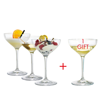 SPIEGELAU Special Glasses Dessert/Champagne Saucer filled with a drink on a white background