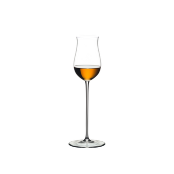 RIEDEL Veritas Spirits filled with a drink on a white background
