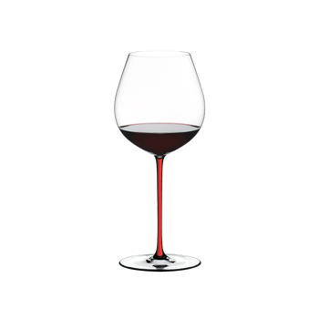 RIEDEL Fatto A Mano Pinot Noir Red filled with a drink on a white background