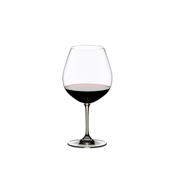 RIEDEL Vinum Restaurant Pinot Noir (Burgundy red) filled with a drink on a white background