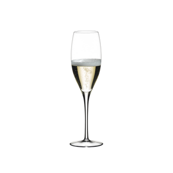 RIEDEL Sommeliers Vintage Champagne Glass filled with a drink on a white background