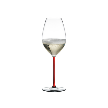 RIEDEL Fatto A Mano Champagne Wine Glass Red filled with a drink on a white background