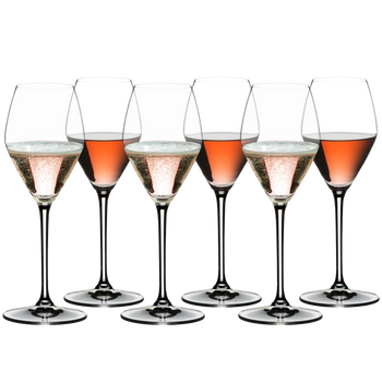RIEDEL Extreme Rosé Champagne/Rosé Wine filled with a drink on a white background
