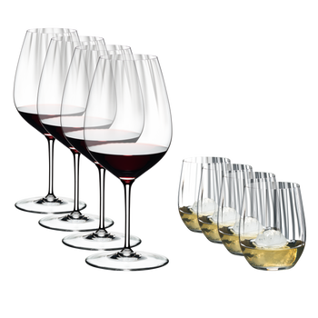 Special Offer - RIEDEL Performance Cabernet + RIEDEL Optical O filled with a drink on a white background