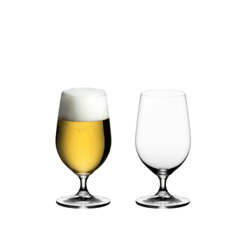 RIEDEL Ouverture Beer filled with a drink on a white background