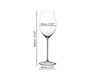 Unfilled RIEDEL Superleggero Champagne Wine Glass on white background with product dimensions
