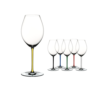 RIEDEL Fatto A Mano Syrah Yellow on a white background