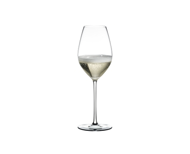 RIEDEL Fatto A Mano Champagne Wine Glass White filled with a drink on a white background