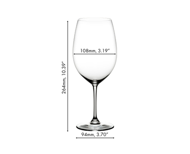 RIEDEL Vinum Bordeaux Grand Cru glass filled with red wine on white background