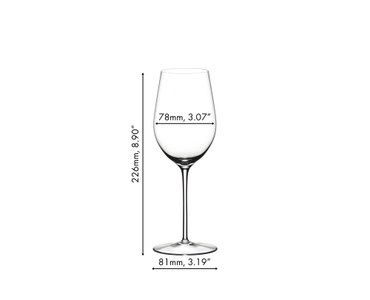 Unfilled RIEDEL Sommeliers Riesling Grand Cru/Zinfandel glass on white background with product dimensions