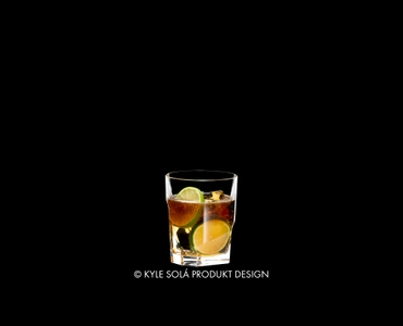 RIEDEL Tumbler Collection Louis Whisky filled with a drink on a black background