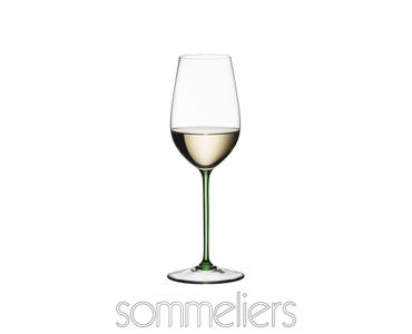 RIEDEL Sommeliers Grüner Veltliner filled with a drink on a white background