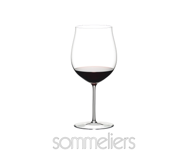 RIEDEL Sommeliers Burgundy Grand Cru filled with a drink on a white background