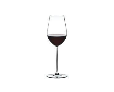 RIEDEL Fatto A Mano Riesling/Zinfandel White R.Q. filled with a drink on a white background