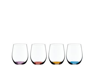 Four RIEDEL O Wine Tumbler Happy O Vol. 2 with colored bases in violet, orange, amber and cyan side by side