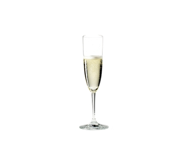 RIEDEL Champagne Tasting Set filled with a drink on a white background