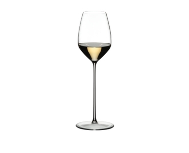 RIEDEL Max Riesling filled with a drink on a white background