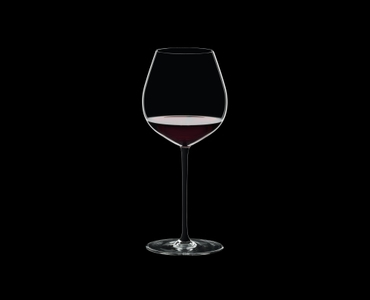 RIEDEL Fatto A Mano Pinot Noir Black filled with a drink on a black background