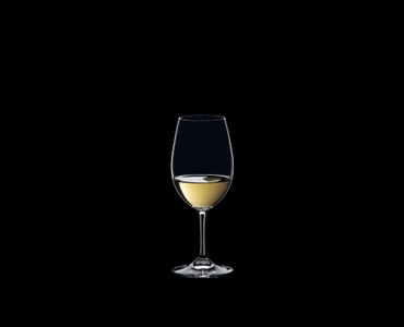 RIEDEL Ouverture White Wine filled with a drink on a black background