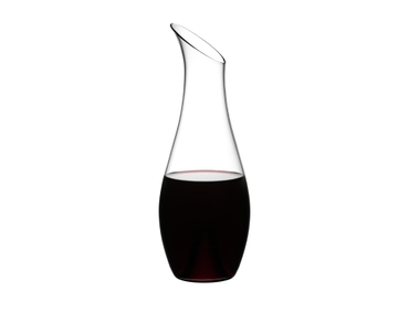 RIEDEL Decanter O Magnum filled with a drink on a white background