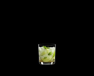 RIEDEL Manhattan Double Old Fashioned filled with a drink on a black background
