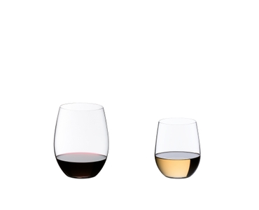 All 8 glasses of the value pack RIEDEL O Wine Tumbler Viognier/Chardonnay + Cabernet/Merlot are arranged in 3 rows. The Cabernet/Merlot tumblers are filled with red wine, the Viognier/Chardonnay tumblers are filled with white wine.