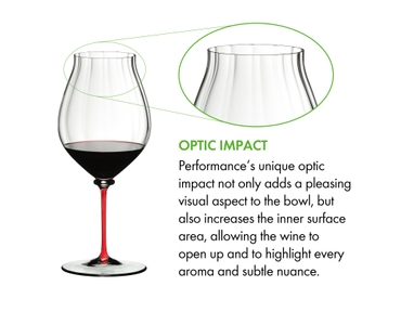 A RIEDEL Fatto A Mano Performance Pinot Noir glass with red stem filled with red wine on a white background.