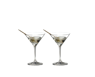 RIEDEL Vinum Martini filled with a drink on a white background