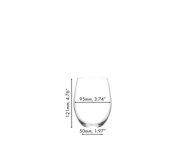 RIEDEL O Wine Tumbler Cabernet/Merlot filled with red wine on white background