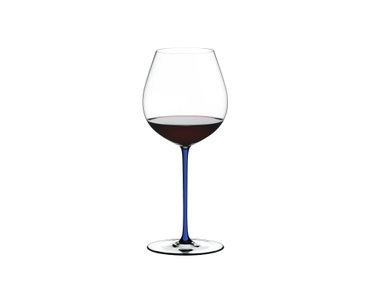 RIEDEL Fatto A Mano Pinot Noir Dark Blue R.Q. filled with a drink on a white background