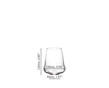 A SL RIEDEL Stemless Wings Riesling / Champagne Glass filled with champagne on a white background