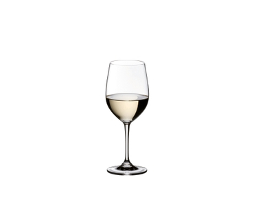 A RIEDEL Vinum Viognier/Chardonnay glass filled with white wine on white background