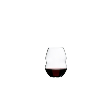 RIEDEL Swirl Red Wine filled with a drink on a white background