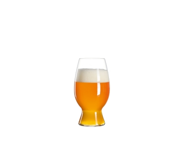 SPIEGELAU Craft Beer Glasses American Wheat Beer filled with a drink on a white background