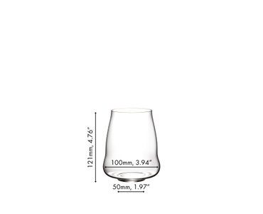 A SL RIEDEL Stemless Wings Pinot Noir / Nebbiolo tumbler filled with red wine on a white background