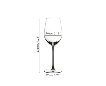 White wine filled RIEDEL Veritas Riesling/Zinfandel glasses on white background