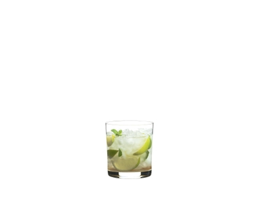 RIEDEL Manhattan Double Old Fashioned filled with a drink on a white background