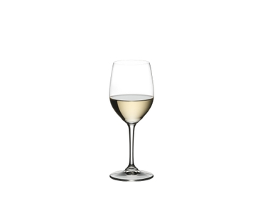 RIEDEL Restaurant Viognier/Chardonnay filled with a drink on a white background
