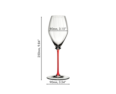 Sample packaging of a RIEDEL Fatto A Mano Performance Champagne Glass Red single pack.