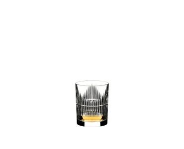 RIEDEL Tumbler Collection Shadows Whisky Set - 2 Whisky Tumbler + Decanter filled with a drink on a white background