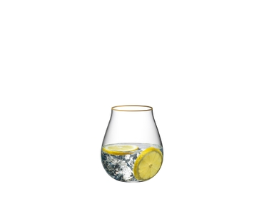 RIEDEL Gin Set Limited Edition Gold Rim filled with a drink on a white background
