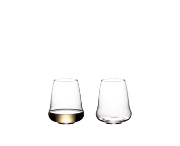 Two SL RIEDEL Stemless Wings Riesling / Champagne Glasses side by side on a white background. The glass on the right side is filled with champagne, the other one is empty.